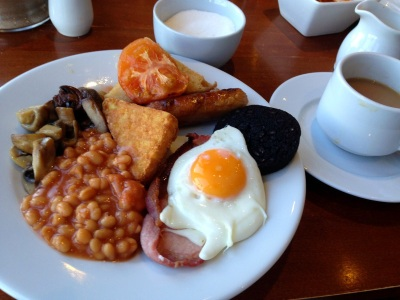 Fried Breakfast, English Breakfast, Full Monty, eggs, bacon, sausage, black pudding, hash brown, mushrooms, tomato, beans, hot tea, toast and marmalade
