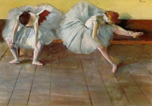 Exhausted dancers behind the scenes in a Degas painting